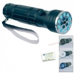 Linterna LED con luz UV y láser puntero