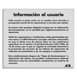 Cartel información al usuario