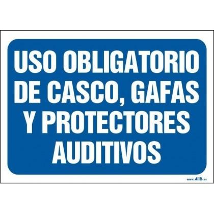 Uso obligatorio de casco, gafas y protectores auditivos