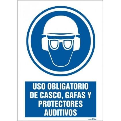 Uso obligatorio de casco, gafas y protectores auditívos