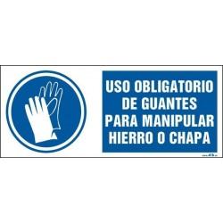 Uso obligatorio de guantes para manipular hierro o chapa