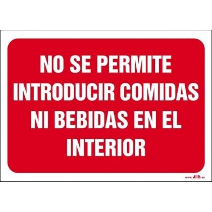 No se permite introducir comidas ni bebidas en el interior