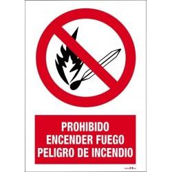 Prohibido encender fuego peligro de incendio