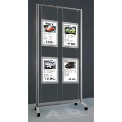 Bastidor aluminio Led A3, 4 expositores, 2 col.