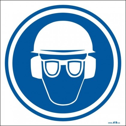 Uso obligatorio de casco, gafas y protectgores auditivos